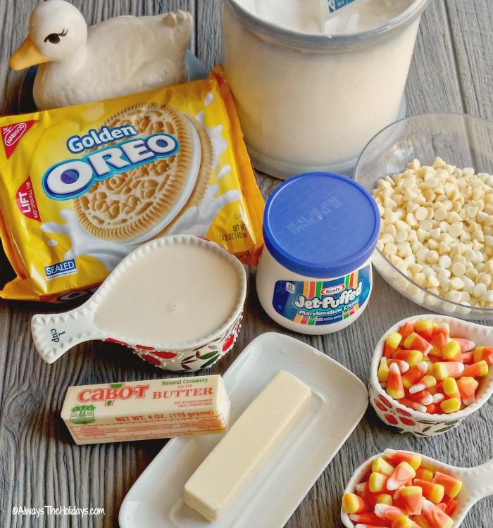 ingredients for candy corn pecan fudge.