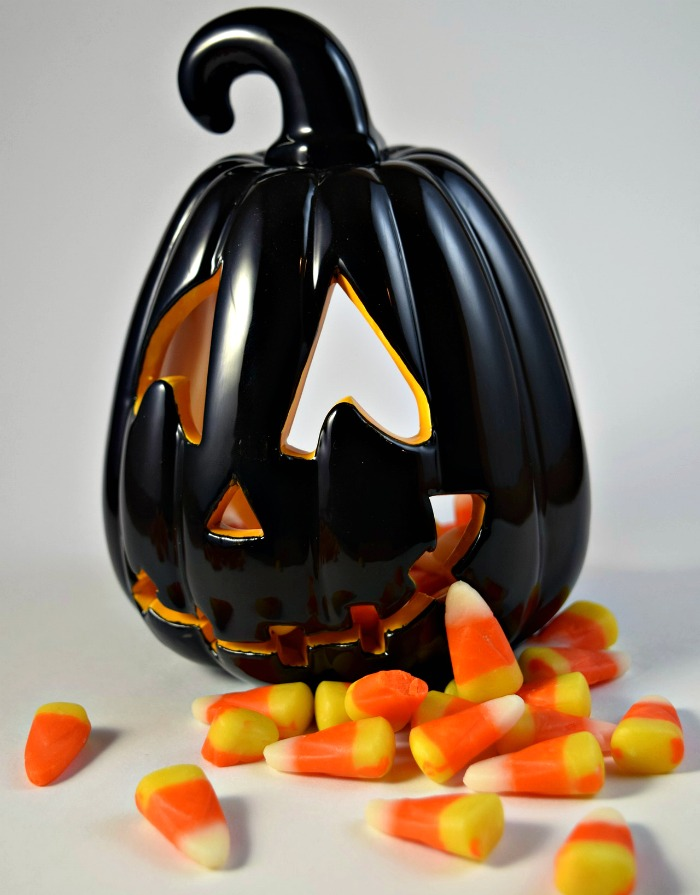 Candy corn and black pumpkin