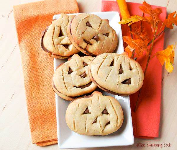 Pumpkin layered cookies with spooky faces