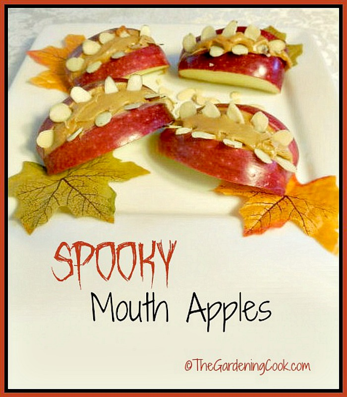 Spooky Halloween mouth apples for a healthy treat