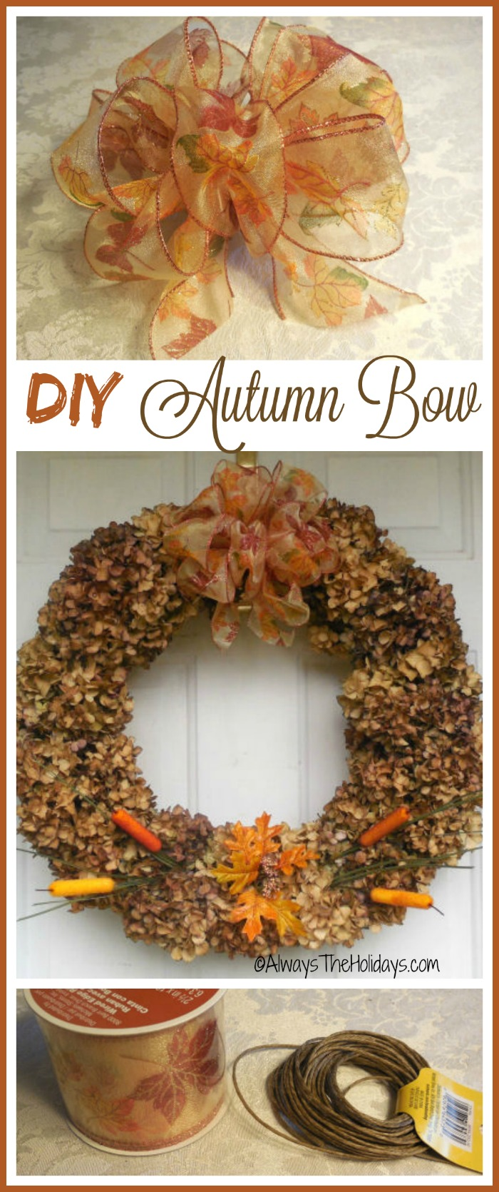 This DIY autumn bow is super easy to make and can dress up all your fall decor projects.  alwaystheholidays.com