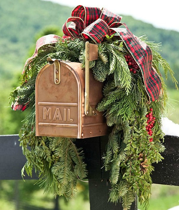 Copper mailbox with holiday swag
