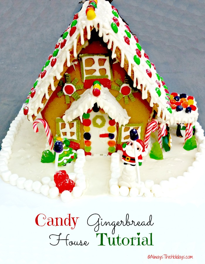 This delightful candy gingerbread house is sure to delight both young and young at heart. See the tutorial on alwaystheholidays.com