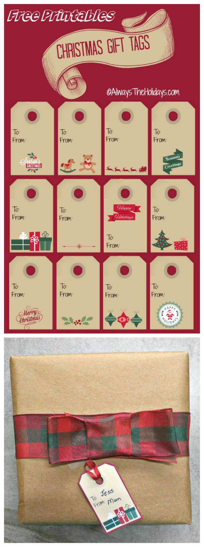 These free Christmas labels add a hand made festive touch to your holiday packages. #christmaslabels #dhristmasgifttags
