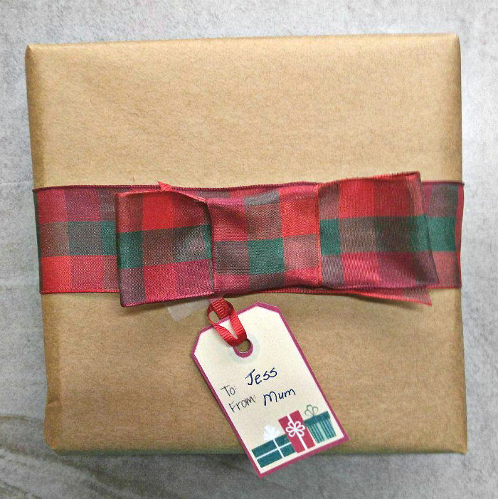 Christmas package with home made gift tag