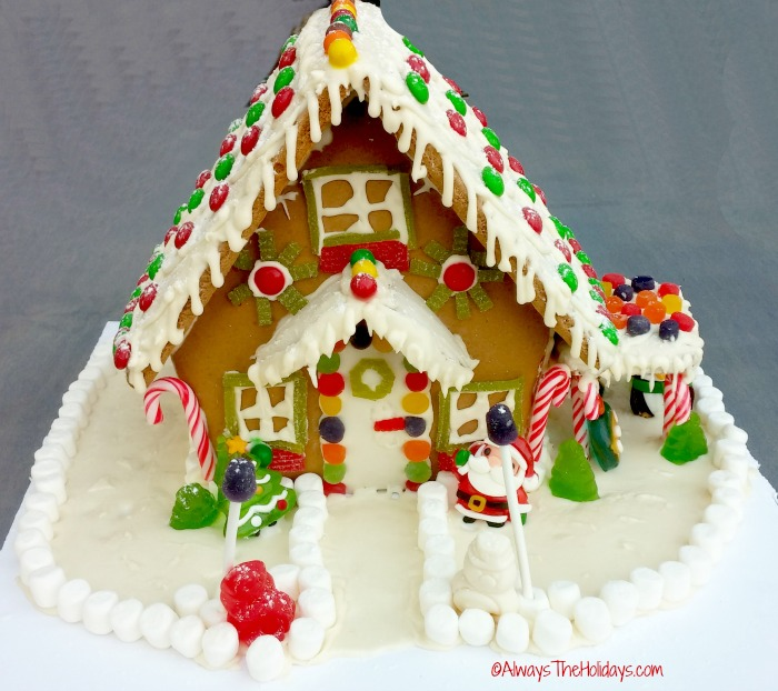 Ginger bread house with candy and marshmallows.