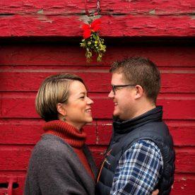 Kissing under the mistletoe