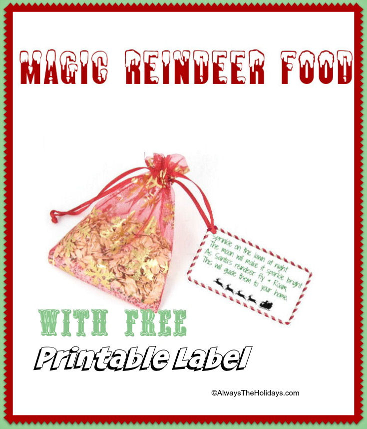 graphic relating to Reindeer Food Poem Printable named Magic Reindeer Meals with No cost Printable Label - Exciting Reindeer