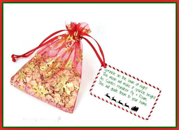 Reindeer food and label in a bag