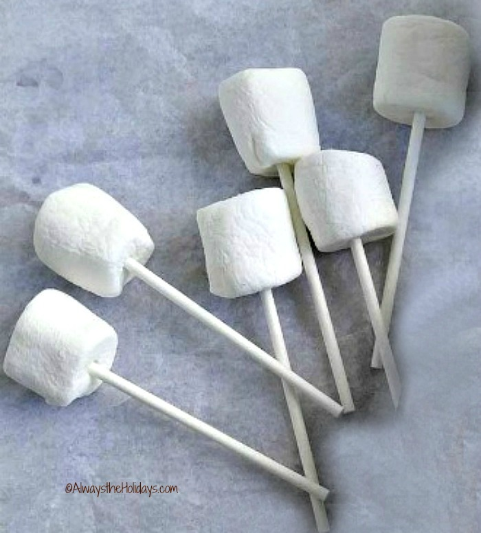 Put sticks in marshmallows