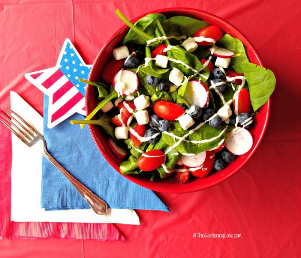 Red white and blue patriotic garden salad from thegardeningcook.com