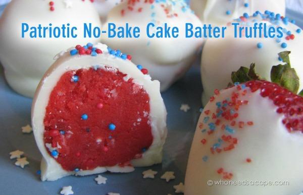 Patriotic no bake truffles from whoneedsacape.com