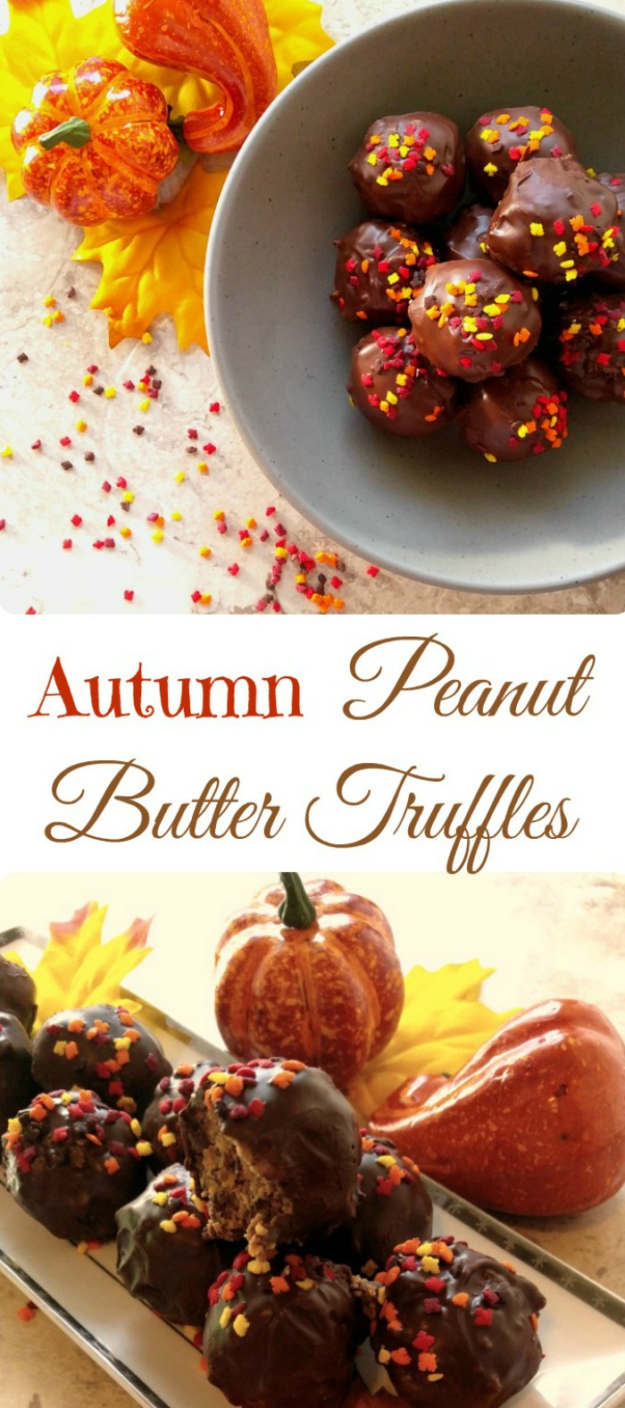 Autumn peanut butter truffles make a great treat for your Halloween or Thanksgiving table