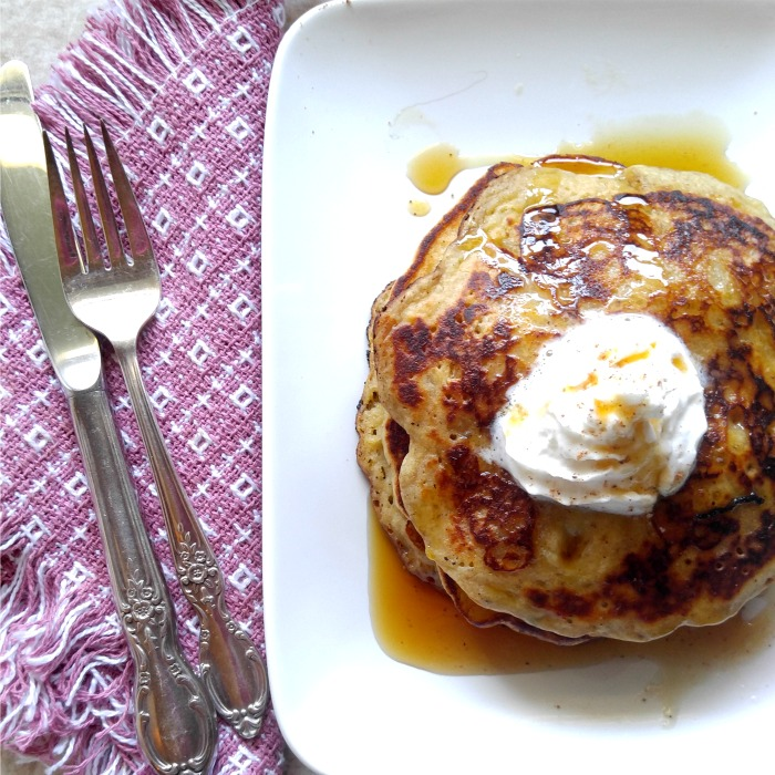 These banana pumpkin pancakes will welcome in fall in a very tasty way. Great to serve for Thanksgiving breakfast!