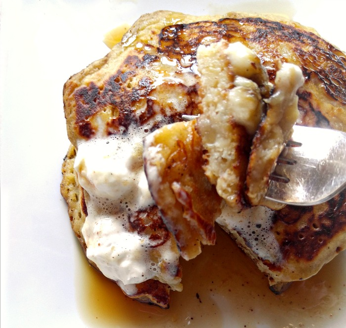 take a bit of these banana pumpkin pancakes