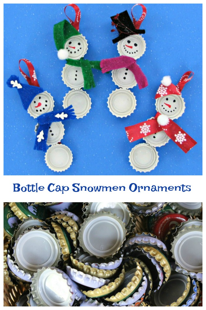 These bottle cap snowmen ornaments are super easy to make and the kids will love to be involved in the project.