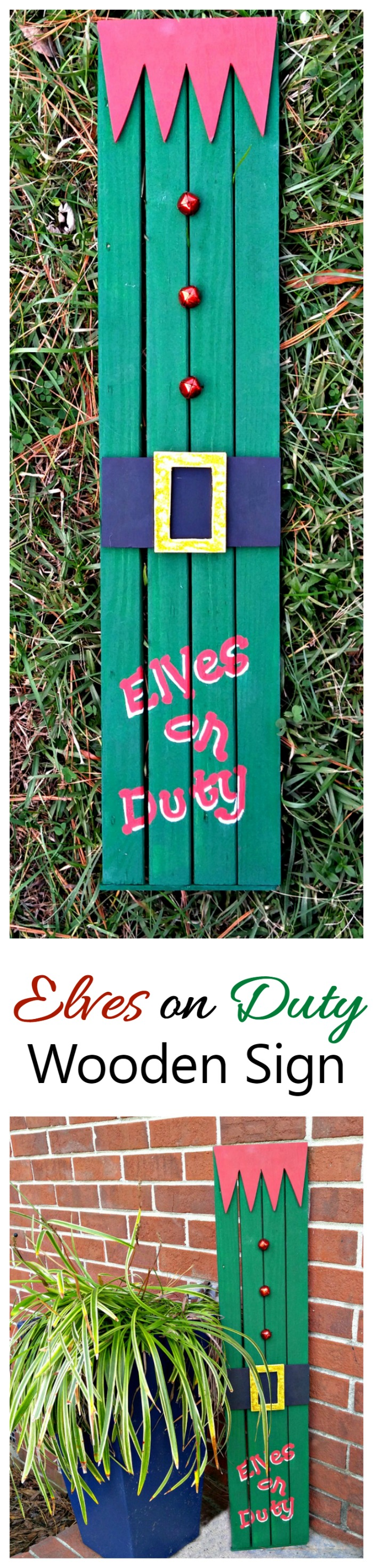 This Elf Doorway Sign is made from an old door frame. It is super easy to do and the kids will love seeing it at the front door.