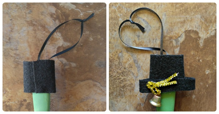 Make the hat with black felt and add a bell and pipe cleaner to decorate