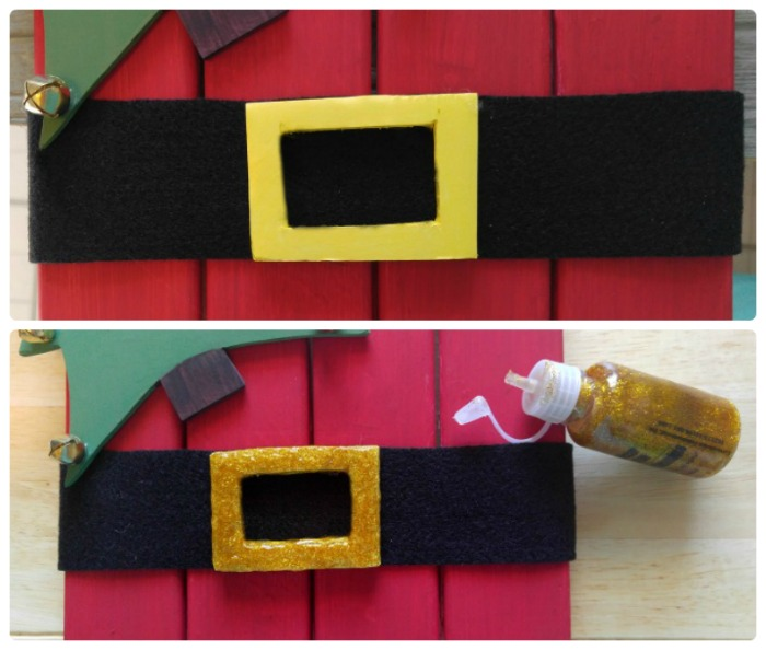 Paint the buckle and add glitter glue when dry.