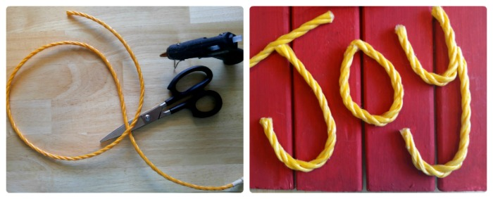 Hot glue the rope in the shape of the word joy.