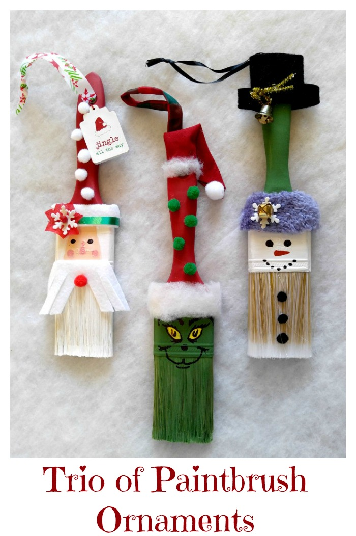 This trio of paint brush ornaments, cost just $5 to make and are done quickly. Hang them on a Christmas tree or use them as wall decor.