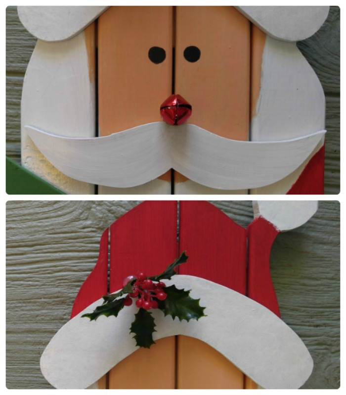 Add some decor and the mustache to make the Santa head and hat