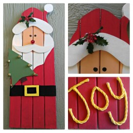 This adorable Santa Claus wall hanging is made from recycled wood from an old door frame. He adds a nice rustic Christmas decoration to your holiday decor.