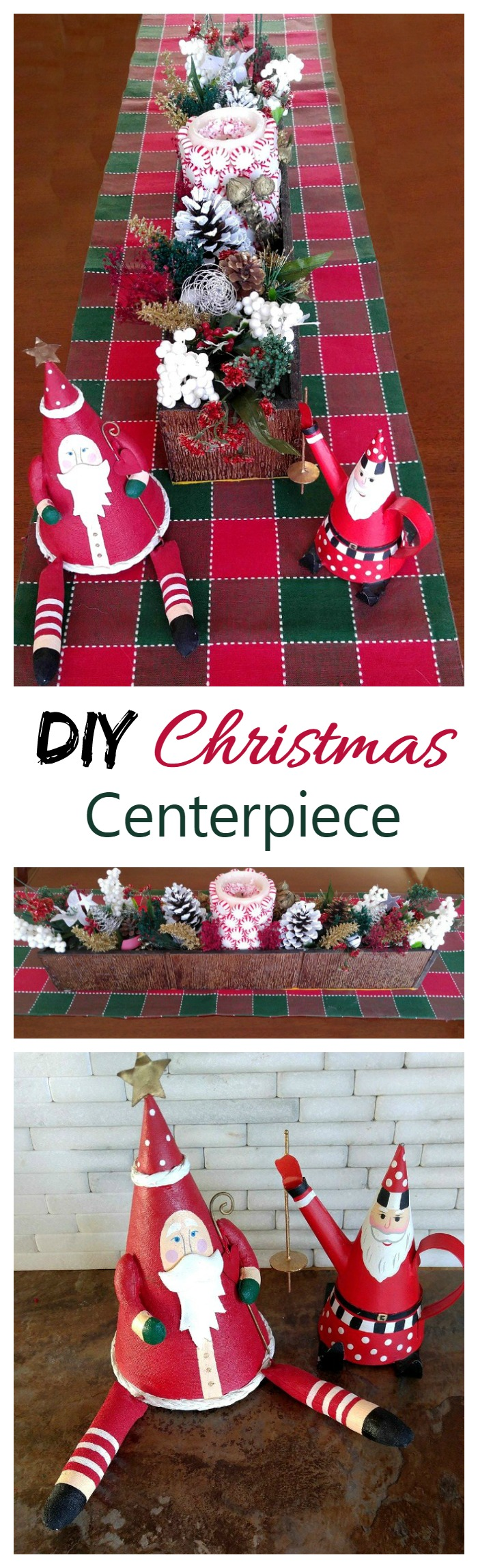 This DIY Christmas Centerpiece is a remake of my Thanksgiving project. Just about an hour changed the seasons for me in such a pretty way!