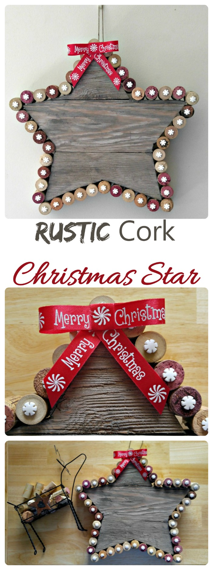 This cork Christmas Star is made from reclaimed wood from my  pantry barn door project.  What a transformation!