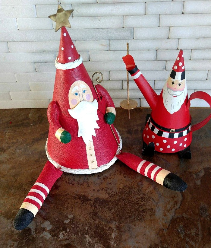 These cone Santa Claus figures were my mother's and look great next to the DIY Christmas Centerpiece.