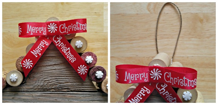 Adding the ribbon and hanger to the Rustic cork Christmas Star