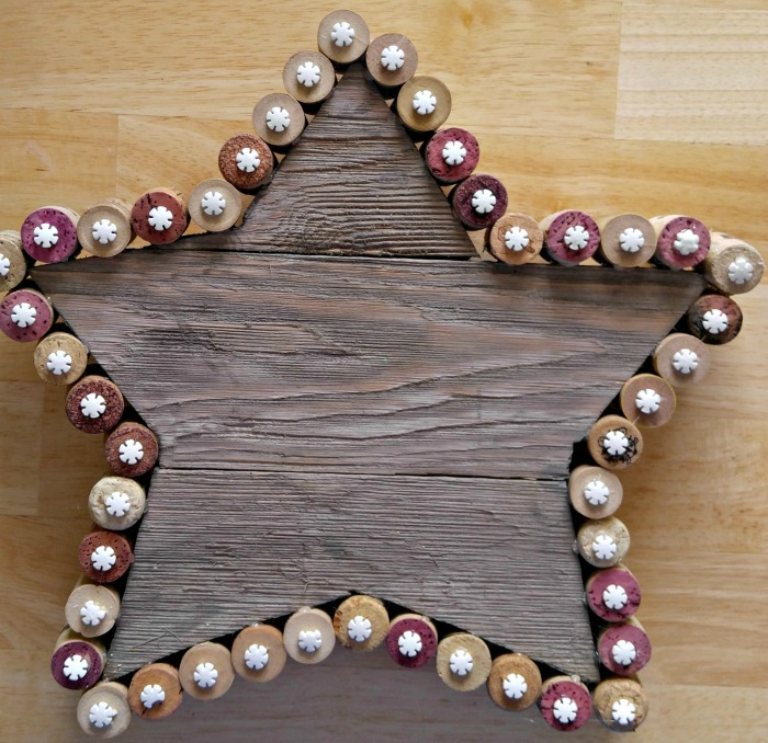 Snowflakes added to the Rustic cork Christmas Star