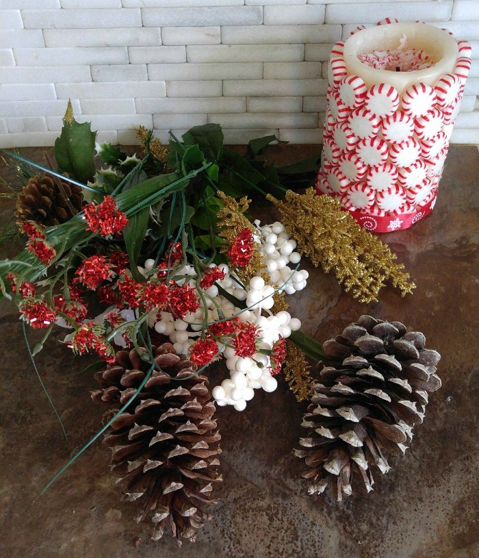 Some of the supplies for my DIY Christmas Centerpiece