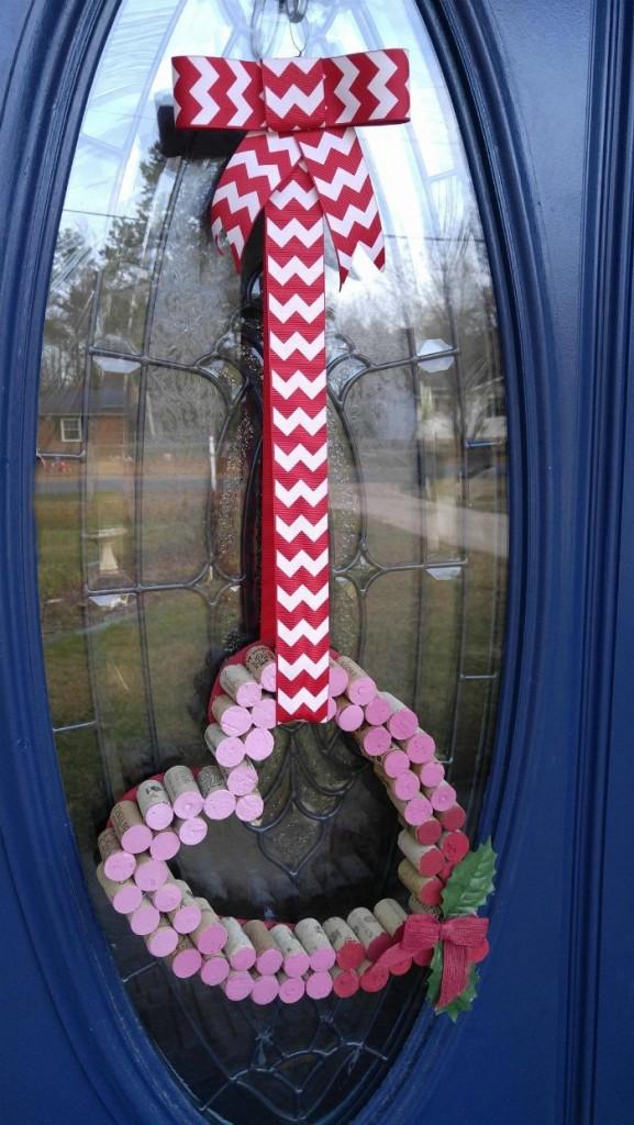 Wine Cork Door Hanger Heart on the front door.