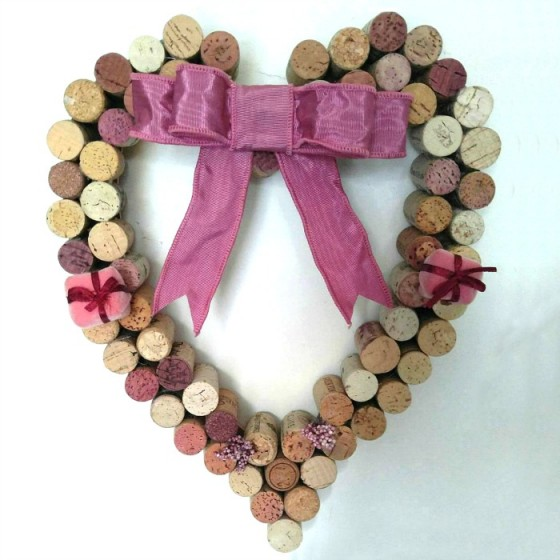 Finished Wine Cork Heart Wall Hanging
