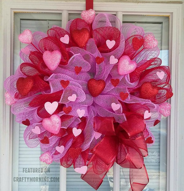 My fun Valentine Ideas starts with a Deco Mesh Valentine's Day wreath from craftymorning.com