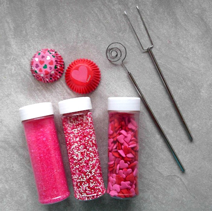 Sprinkles and dipping tools for my raspberry cheesecake truffles