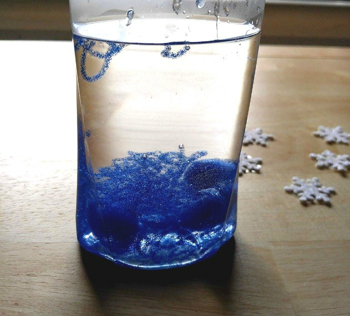 Glitter glue to warm water in a bottle