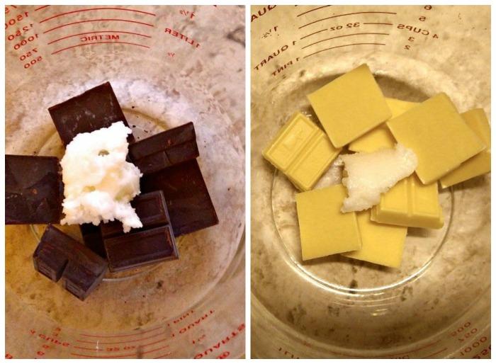 Melt both light and dark chocolate