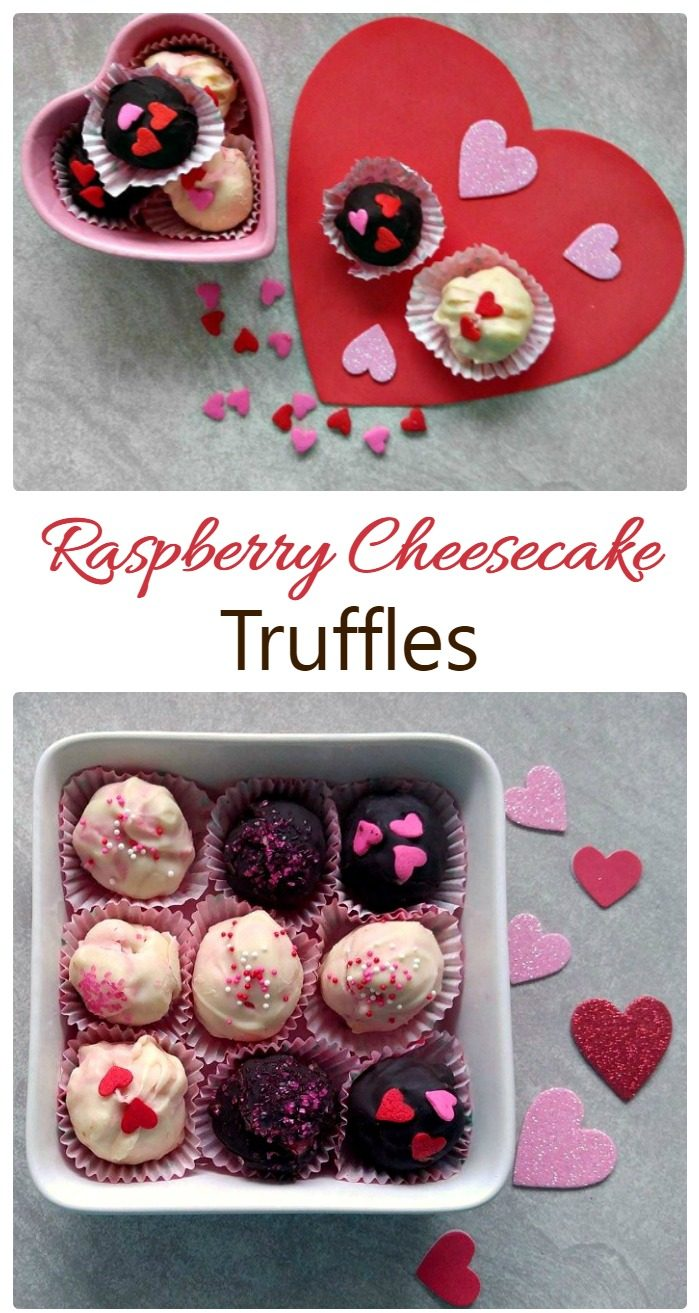 """A text overlay reading """"Raspberry Cheesecake Truffles"""" in between two photos, the top has black and white truffles with heart shaped candies on them on a paper heart and in a heart shaped dish, the photo on the bottom is a dish holding nine of these same truffles."""