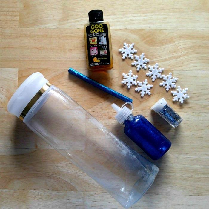 supplies for the snowflake calm down jar