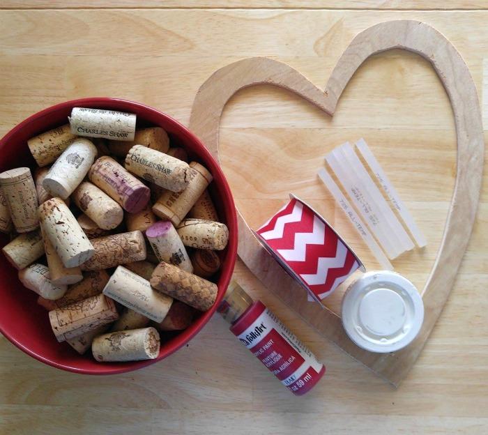 Supplies for the Wine Cork Heart Door Decoration
