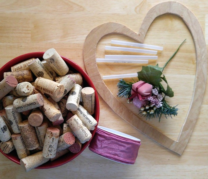 Supplies for the Wine Cork Heart Wall Hanging