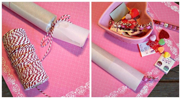Tie one end and fill the Valentine Party Poppers, then tie the other end.