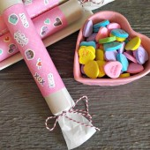 Valentine Party Poppers and conversation hearts