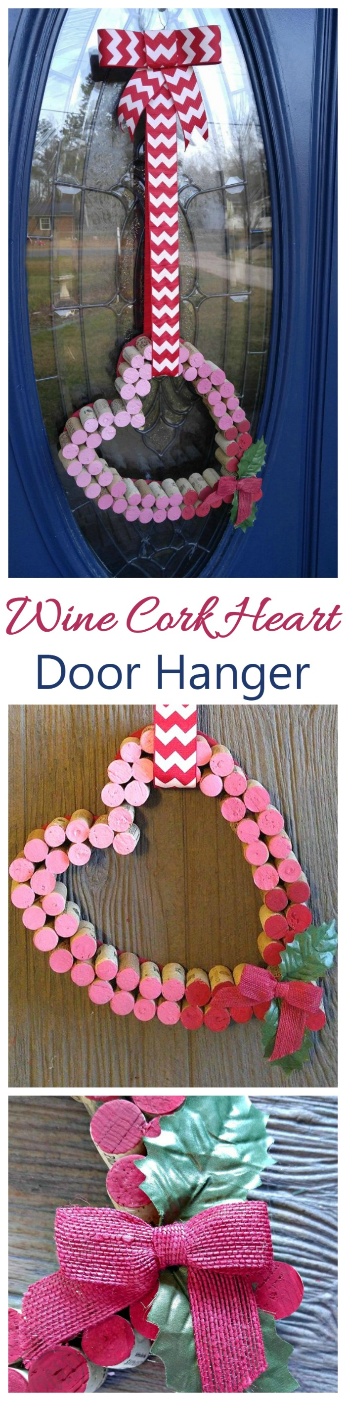 This Wine Cork Heart Door Decoration is perfect for a glass paneled door where a wreath won't work. It adds a romantic Valentine's day greeting to your front door.