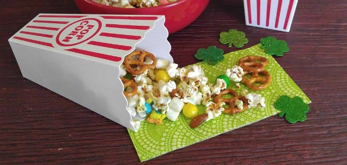 Leprechaun snack mix in popcorn containers