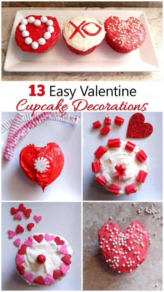 These 13 Easy Valentine Cupcake Decorations are great for some last minute Valentine's day decorating.