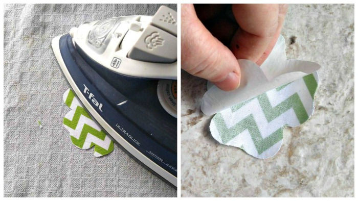 Fuse the shamrock to the fusible bonding material and peel the backing off