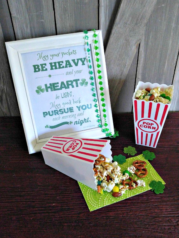 Leprechaun snack mix and St. Patrick's day printable in a white frame